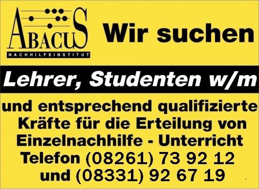 Nachhilfelehrer (m/w) in Memmingen gesucht