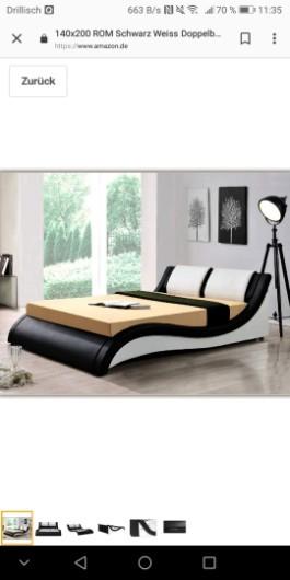 Bett (schwarz / weiß) günstig abzugeben