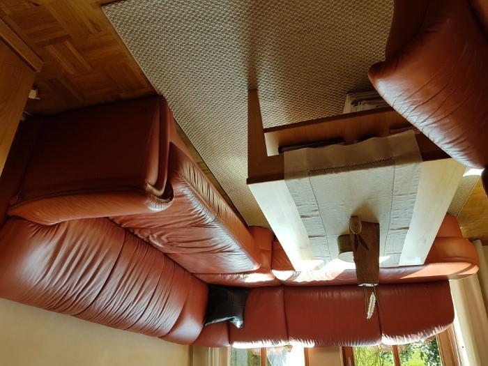 Wohnzimmer Sitzgruppe aus Leder mit Fersehsessel