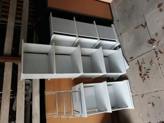3 moderne graue Ordnerregale - H150/115/80xB+T40cm