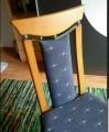 Stühle 6x Buche massiv dunkelblaue Polster