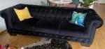 Chesterfield Couch Sofa schwarz Samt 4-Sitzer
